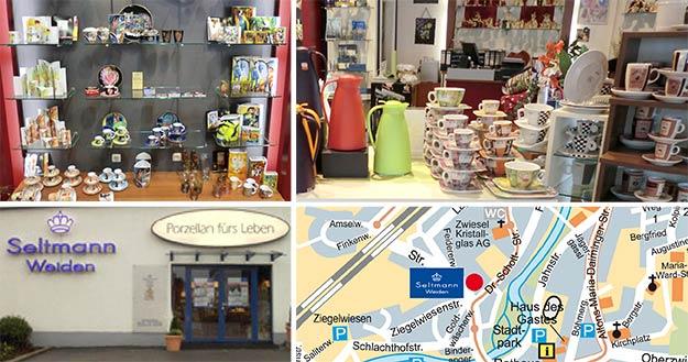 Anfahrtsplan zu Shop Zwiesel und Aufnahmen des Ausstellungsraumes