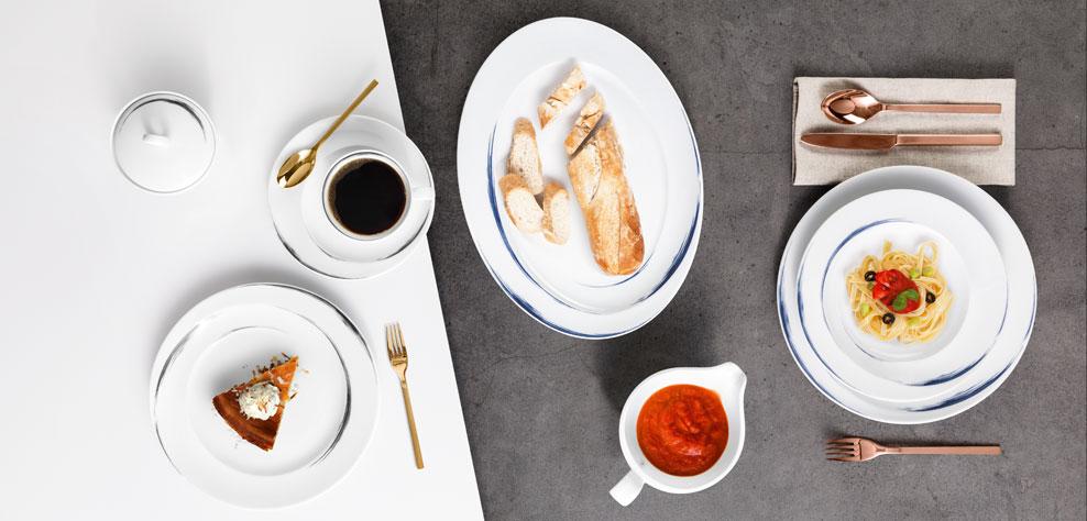 Paso - Porzellan Geschirr mit den Dekoren Grey und Blue Brush