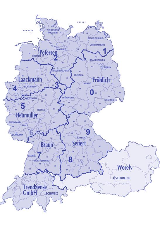 Landkarte Vertreter Bereich Haushaltsporzellan