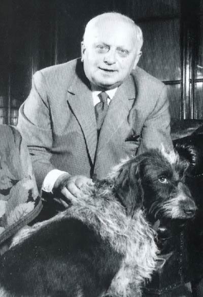 Portrait von Wilhelm Seltmann mit Hund