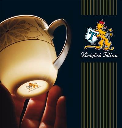 Königlich Tettau Logo mit Porzellanform Granat Daylight